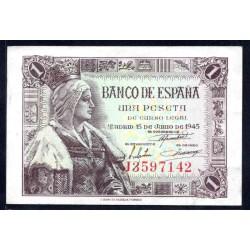 Испания 1 песета 1945 г. (SPAIN 1 pesetas 1945) P128:аUnc