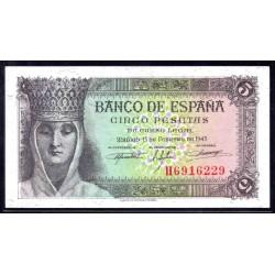 Испания 5 песет 1943 г. (SPAIN 5 pesetas 1943) P127:аUnc