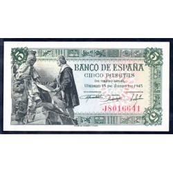 Испания 5 песет 1945 г. (SPAIN 5 Pesetas 1945) P129:Unc