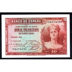 Испания 10 песет 1935 г. (SPAIN 10 Pesetas 1935) P86:Unc