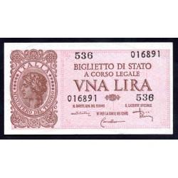 Италия 1 лира 1944 г. (ITALY 1 Lira 1944) P29с:Unc
