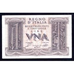 Италия 1 лира 1939 г. (ITALY 1 Lira 1939) P26: aUNC-