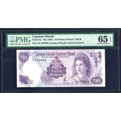 Каймановы Острова 40 долларов 1971 г. (CAYMAN ISLANDS 40 Dollars L. 1971) P9а:65 greid slab