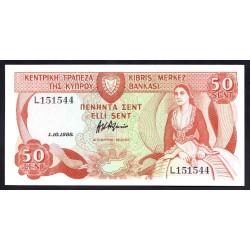 Кипр 50 центов 1988 г. (CYPRUS 50 Cents / Sent 1988) P52:Unc