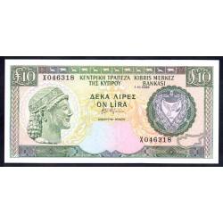 Кипр 10 фунтов 1988 г. (CYPRUS 10 Pounds / Lires / Lira 1988) P51:Unc