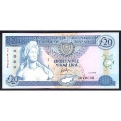 Кипр 20 фунтов 1993 г. (CYPRUS 20 Pounds / Lires / Lira 1993) P56а:Unc