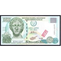 Кипр 10 фунтов 1997 г. (CYPRUS 10 Pounds / Lires / Lira 1997) P59:Unc (Надпечатка)