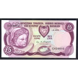 Кипр 5 фунтов 1979 г. (CYPRUS 5 Pounds / Lirai / Lira 1979) P47:Unc