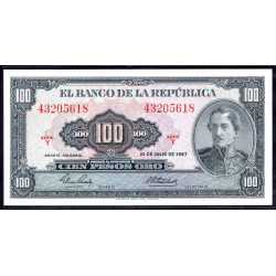Колумбия 100 песо 1967 г. (COLOMBIA  100 pesos oro 1967 g.) P403с:Unc