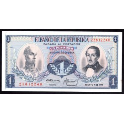 Колумбия 1 песо 1974 г. (COLOMBIA  1 pesos oro 1974 g.) P404е:Unc