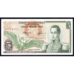 Колумбия 5 песо 1976 г. (COLOMBIA  5 pesos oro 1976 g.) P406е:Unc