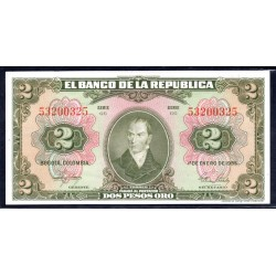 Колумбия 2 песо 1955 г. (COLOMBIA 2 pesos 1955 g.) P390d:Unc