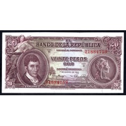 Колумбия 20 песо 1953 г. (COLOMBIA  20 peso oro 1953 g.) P401а:Unc