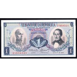 Колумбия 1 песо 1970 г. (COLOMBIA  1 pesos oro 1970 g.) P404е:Unc