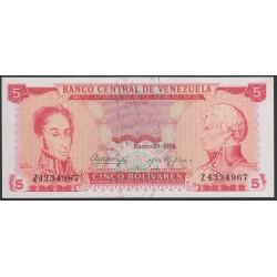 Венесуэла 5 боливаров 1974 года, префикс Z (Venezuela 5 Bolivares 1974, prefix Z) P 50h: UNC