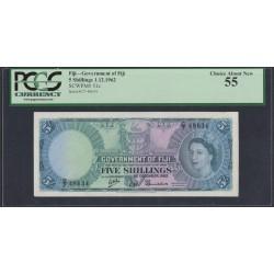 Фиджи 5 шиллингов 1962 года (FIJI  5 Shillings 1962) P 51c: aUNC PMG 55