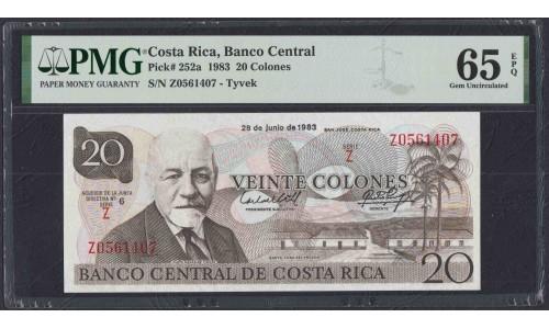 Коста Рика 20 колон 1983 года, полимерный материал ТЮВЕК! (COSTA RICA 20 colones 1983 Tyvek) P252: UNC PMG 65EPQ