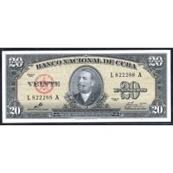 Куба 20 песо 1960 год (CUBA 20 pesos 1960 g.) P80с:Unc