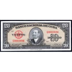 Куба 20 песо 1958 год (CUBA 20 pesos 1958 g.) P80b:Unc