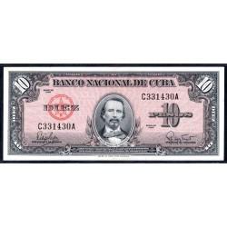 Куба 10 песо 1960 год (CUBA 10 pesos 1960 g.) P79b:Unc