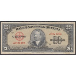 Куба 20 песо 1958 год (CUBA 20 pesos 1958 year) P80b:XF