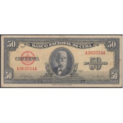 Куба 50 песо 1950 год (CUBA 50 pesos 1950 year) P81a:VF