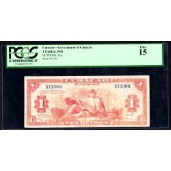 Кюрасао 1 гульден 1942 г. (CURAÇAO 1 Gulden 1942) P35а:15 greid slab