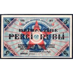 Латвия 5 рублей 1919 г. (Рига) (LATVIA 5 Rubłi 1919) РR3:Unc