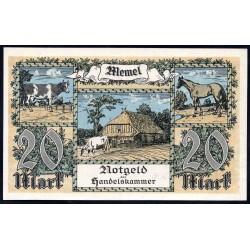 Литва 20 марок 1922 г. (Мемель Клайпеда нотгельд) (LITHUANIA 20 Mark 1922) P6b:aUnc