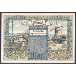 Литва 75 марок 1922 г. (Мемель Клайпеда нотгельд) (LITHUANIA 75 Mark 1922) P8:Unc