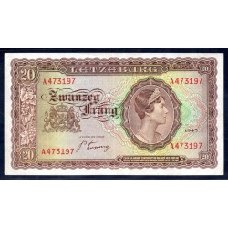 Люксембург 20 франков 1943 г. (LUXEMBOURG 20 Frang 1943) P42:XF