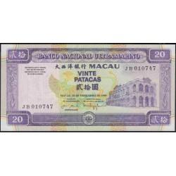 Макао 20 патака 1999 год (Macau 20 patacas 1999 year) P 71:Unc