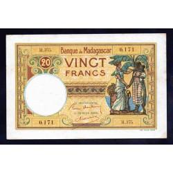 Мадагаскар 20 франков ND (1937-1947 г.г.) (MADAGASCAR 20 francs ND (1937 -  47 g.))  P37:аUnc
