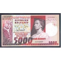 Мадагаскар 5000 франков=1000 ариари ND (1974-75 г. г.) (MADAGASCAR 5000 francs=1000 ariary ND (1974-75 g.)) P66a:Unc