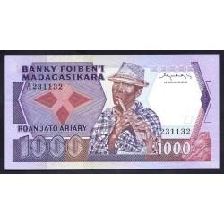 Мадагаскар 1000 франков=200 ариари ND (1983-87 г. г.) (MADAGASCAR 1000 francs=200 ariary ND (1983-87 g.)) P68a:Unc