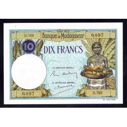Мадагаскар 10 франков ND (1937-1947 г.г.) (MADAGASCAR 10 francs ND (1937 -  47 g.)) P36:Unc