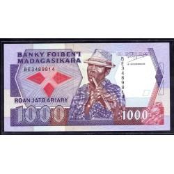 Мадагаскар 1000 франков=200 ариари ND (1983-87 г. г.) (MADAGASCAR 1000 francs=200 ariary ND (1983-87 g.)) P68b:Unc