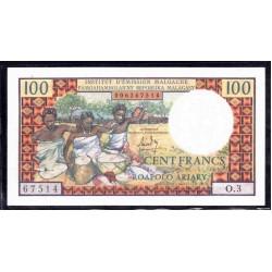 Мадагаскар 100 франков=20 ариари ND (1966 г.) (MADAGASCAR 100 francs=20 ariary ND (1966 g.)) P57a:Unc