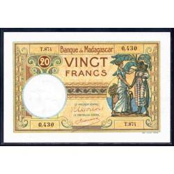 Мадагаскар 20 франков ND (1937-1947 г.г.) (MADAGASCAR 20 francs ND (1937 -  47 g.))  P37:Unc