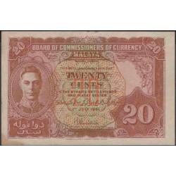Малазия (Малайя) 20 центов 1941 г. (Malaysia (Malaya) 20 cents 1941 year) P9a:aUnc