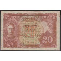 Малазия (Малайя) 20 центов 1941 г. (Malaysia (Malaya) 20 cents 1941 year) P9a:VF
