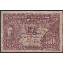 Малазия (Малайя) 50 центов 1941 г. (Malaysia (Malaya) 50 cents 1941 year) P10a:VF