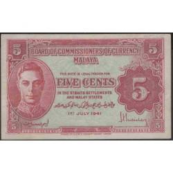 Малазия (Малайя) 5 центов 1941 г. (Malaysia (Malaya) 5 cents 1941 year) P7a:XF