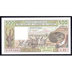 Мали 500 франков 1990 г. (MALI 500 Francs 1990) P106Аn:Unc (Banque Centrale des États de l'Afrique de l'Ouest)