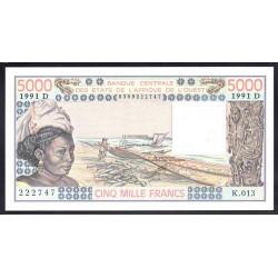 Мали 5000 франков 1991 г. (MALI 5000 Francs 1991) P108Аr:Unc (Banque Centrale des États de l'Afrique de l'Ouest)