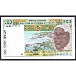Мали 500 франковND (1991-2002 г.) (MALI 500 Francs ND (1991-2002)) P110А:Unc (Banque Centrale des États de l'Afrique de l'Ouest)