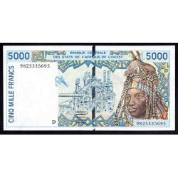 Мали 5000 франковND (1992 - 2003 г.) (MALI 5000 Francs ND (1992 - 2003)) P113Аj:Unc (Banque Centrale des États de l'Afrique de l'Ouest)