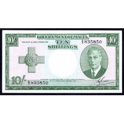 Мальта 10 шиллингов L. 1949 г.  (MALTA 10 Shillings L. 1949) P21:XF