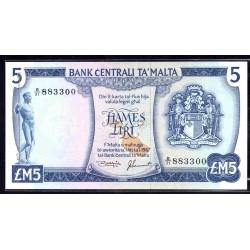 Мальта 5 лир L.1967 г. (1973 г.) (MALTA 5 Liri / Pounds L. 1967 (1973)) P32:Unc