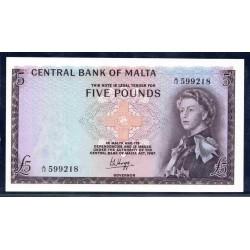 Мальта 5 фунтов L.1967 г. (1968 г.) (MALTA 5 Pounds L.1967 (1968)) P30а:Unc